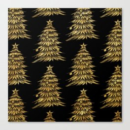 Gold Christmas Tree On Black Christmas Pattern Canvas Print