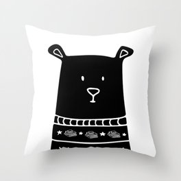 Book Doodles Bear Throw Pillow