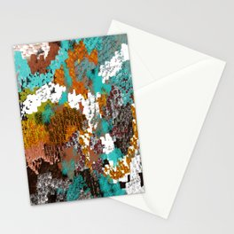 Mixed Up Block Patterns in Aqua, Golds, Browns, Naturals Stationery Cards