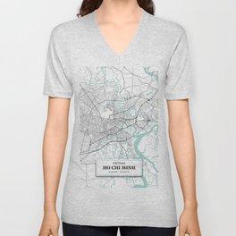 Ho Chi Minh, Vietnam City Map with GPS Coordinates Unisex V-Neck