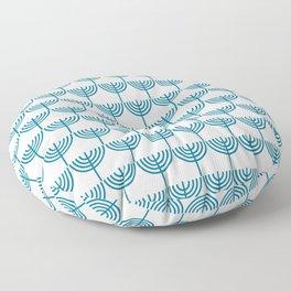 Hanukkah Menorah Pattern in Teal Blue and White Floor Pillow