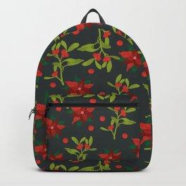 Christmas Poinsettia Floral Pattern Gunmetal Gray Backpack