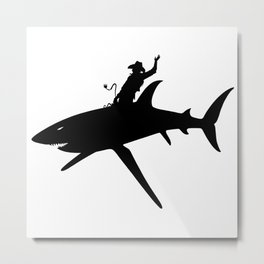 Shark Rodeo silhouette-Rodeo-Cowboy-Animal-Wild Metal Print