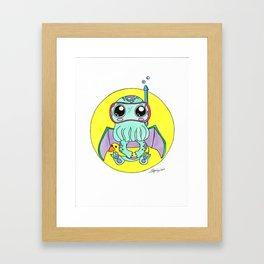 Just keep swimming, Cute-thulu! Framed Art Print