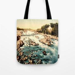Vintage Rocky Waterfall. Creek Landscape Photo Tote Bag
