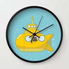 Yellow submarine with a cat and bubbles Wall Clock