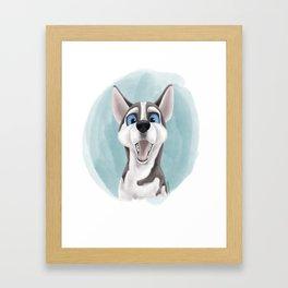 Happy Husky Framed Art Print