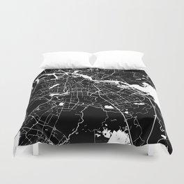 Amsterdam Black on White Street Map Duvet Cover