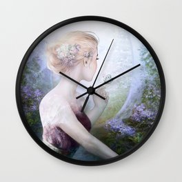 Dream of gentleness - princess in royal garden Wall Clock
