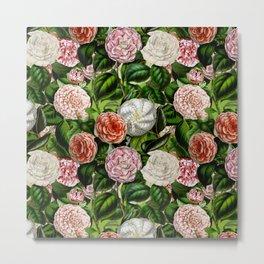 Vintage & Shabby Chic Green Dark Floral Camellia  Flowers Watercolor Pattern Metal Print