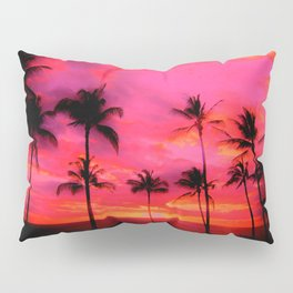 tropical pink, palm trees at sunset sundown,,,house of harlequin Pillow Sham