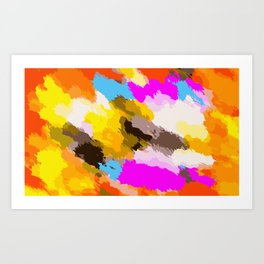 orange black yellow pink and blue painting abstract background Art Print
