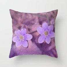 Purple Spring Flowers Throw Pillow