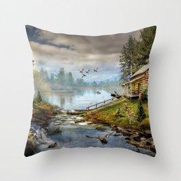 Wildlife Landscape Throw Pillow