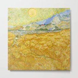 "Vincent van Gogh ""Wheat Field behind Saint Paul Hospital with a Reaper"" Metal Print"