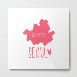 Seoul (Map) Metal Print