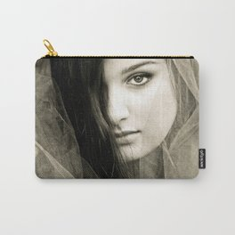 Young Woman Veiled in Tulle Carry-All Pouch