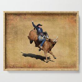 Bull Dust! - Rodeo Bull Riding Cowboy Serving Tray