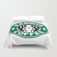 rabbits Duvet Covers featuring RABBITS COFFEE by RAGING BUNNIES