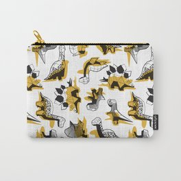 Geometric Dinos // non directional design white background yellow mustard dinosaurs shadows Carry-All Pouch
