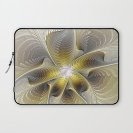 Gold And Silver, Abstract Flower Fractal Laptop Sleeve