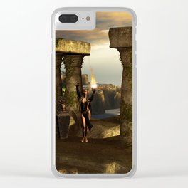 The dark fairy with kulls in the night Clear iPhone Case