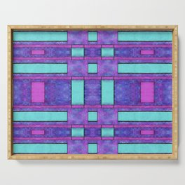 Abstract Painted purple bars Serving Tray