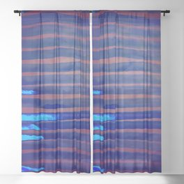 Blue Ice Lines Stripe Sheer Curtain