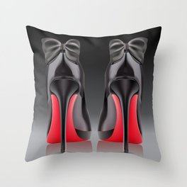 Pair of black high heel shoe with bows Throw Pillow