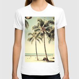 Retro Vintage Palm Tree with Hawaii Summer Sea Beach T-shirt