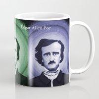 edgar allen poe Mugs featuring Edgar Allen Poe by Michael D'Orazio Art