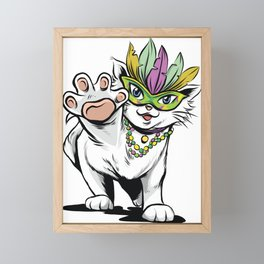 mardi gras cat  Framed Mini Art Print