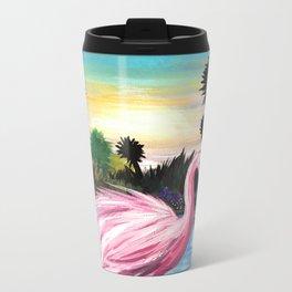 Flamingos Paradise Metal Travel Mug