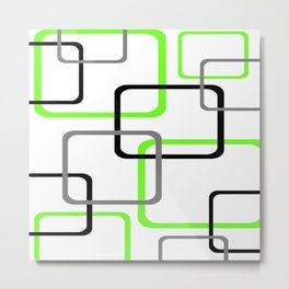 Geometric Rounded Rectangles Collage Lime Green Metal Print
