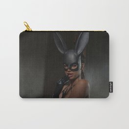 Gorgeous Woman Topless in Bunny Mask Carry-All Pouch