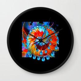 Fantasy  Design Incrustation  Jewels in Aqua-Black -Blue   Wall Clock