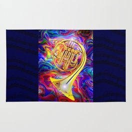 Psychedelic French horn Rug