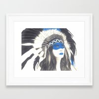 headdress Framed Art Prints featuring Headdress by TheAngelKid