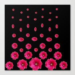 CERISE PINK HOLLYHOCKS  LOVERS BLACK PATTERNED ART Canvas Print