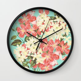 Clematis Floral Pattern Wall Clock