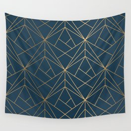 Benjamin Moore Hidden Sapphire Gold Geometric Pattern With White Shimmer Wall Tapestry