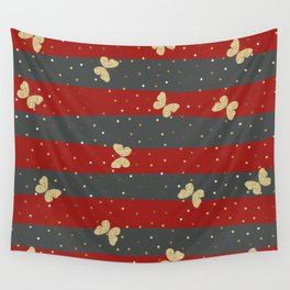 Butterfly Christmas seamless pattern and Gold Confetti on Dark Gray and Red Stripes Background Wall Tapestry