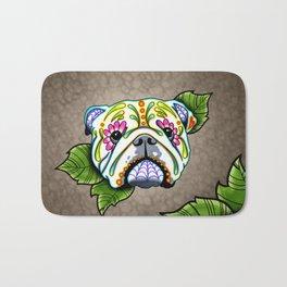 English Bulldog - Day of the Dead Sugar Skull Dog Bath Mat