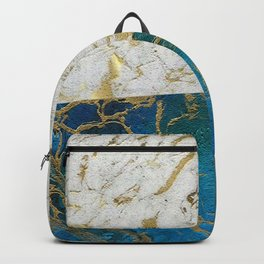 Marble Art White & Turquoise Backpack