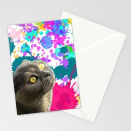 Cat And Paint Splashes Stationery Cards