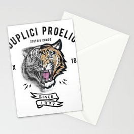 DUPLICI PROELIO Tiger by leo Tezcucano Stationery Cards