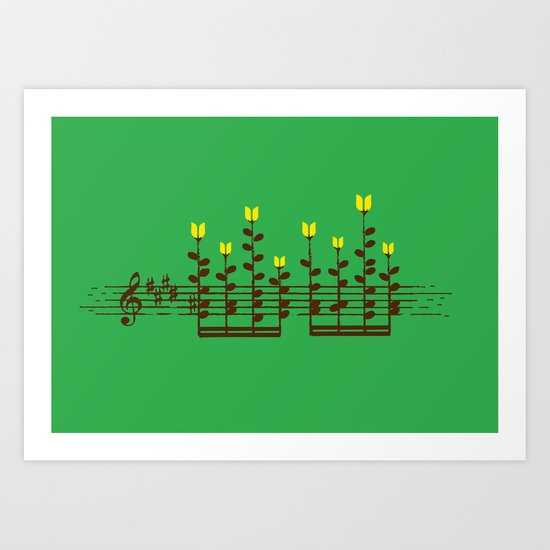 Music notes garden Art Print
