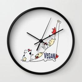 Brontosaurus and Vegan Friends Wall Clock