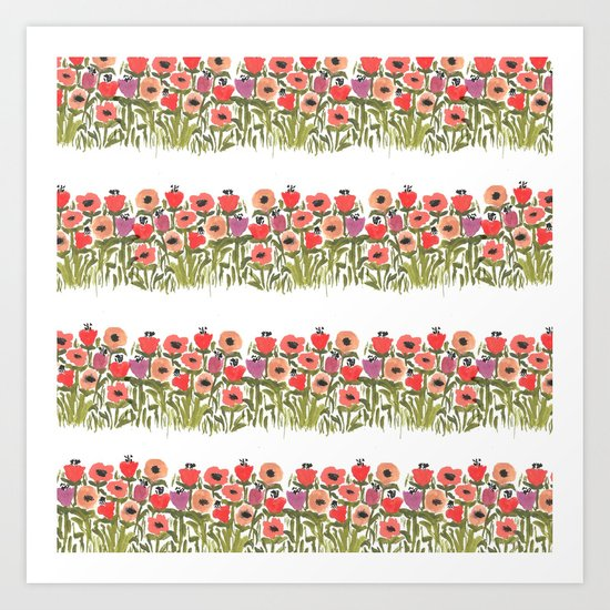 Flower stripe garden Art Print