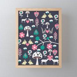 Romantic little animals Framed Mini Art Print